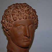 Vintage Art Roman Head on a Wooden Base, David from Michelangelo