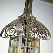 SALE Huge Quality Scrolled Wrought Iron w. Stained Glass Lantern Fixture