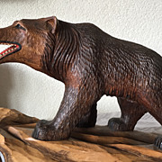 SALE Great Large Black Forest Wooden Bear with Barometer