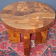 A Rare Antique Marquetry Inlaid Wooden Coffee Table, with cowboy, Indian Scene