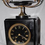 SALE A French Antique Black Marble Shelf / Mantel Clock