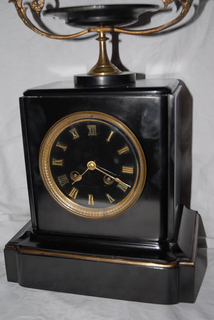 A French Antique Black Marble Shelf / Mantel Clock