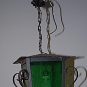 SALE A French Antique Wrought Iron Glass Lantern