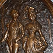 SALE An Antique Decorative Copper Figural Wall Relief / Plate