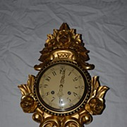 SALE A Beautiful Old Swedish Gilt Carved Wooden Wall Clock