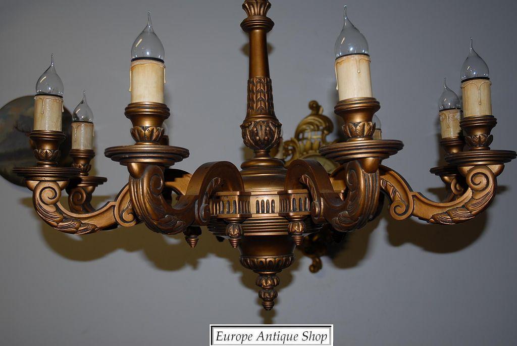 A Huge French Antique Carved Wood Gilded 9-light Chandelier