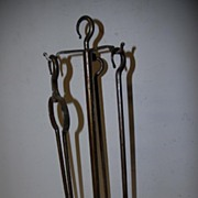Vintage Set Quality Hand Made Wrought Iron Art Fire Place Tools