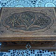 SALE An Antique Carved Wood(walnut) Swiss Black Forest Jewelry Box