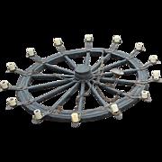 SALE A Huge Wooden/Iron 14-lights Wheel Chandelier