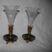 SALE A French Pair Antique Bronze / Crystal Vases