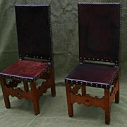 An Antique Pair Spanish wooden/Leather Chairs