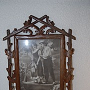 SALE An Antique Finest Carved Wood Black Forest Picture Frame