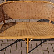 SALE A Carved Wood Faux Bamboo Sofa