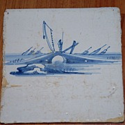 SALE An Antique Porcelain Delft Blue Tile