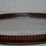 SALE An Antique Quality Wooden/Glass Inlaid Tray