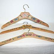 SALE A Vintage Set of 3 Wooden Floral Painted Clothes Hangers