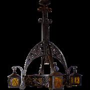 SALE Arts & Crafts - Nouveau Wrought Iron Art Chandelier with Lantern