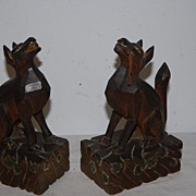 SALE A Gorgeous Antique Pair Fine Carved Wood Art Pharaoh Dogs