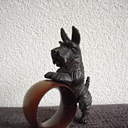 SALE A Finest Carved Wood Terrier Dog Napkin Ring