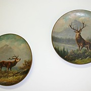 Pair Wall Plaques with Painted Stag Deer Hunting Scene