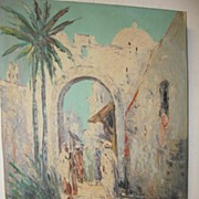 SALE Nice Oil Painting, Arabic Village Scene