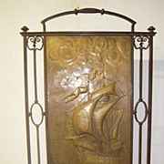 Rare Antique Quality Hand Wrought Iron Fire Place Screen  with Decor Santa Maria Columbus
