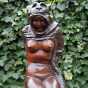 Female Nude Amazon Statue, Carved in Wood Female Amazon Sculpture