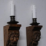 A Pair Carved Wood Lion Head 1-light Wall Sconces