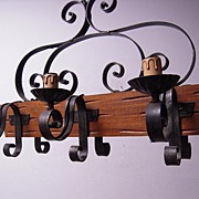 A Scrolled Wooden/Wrought-Iron 6-light Castle Art Chandelier