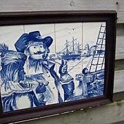 A Old Large Porcelain Delft's Blue Tile Picture.