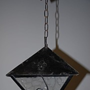 French Vintage Wrought Iron 3-hook Lantern with Original Glass