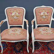 Lovely Antique Pair Carved Wood Louis XVI Style Armchairs