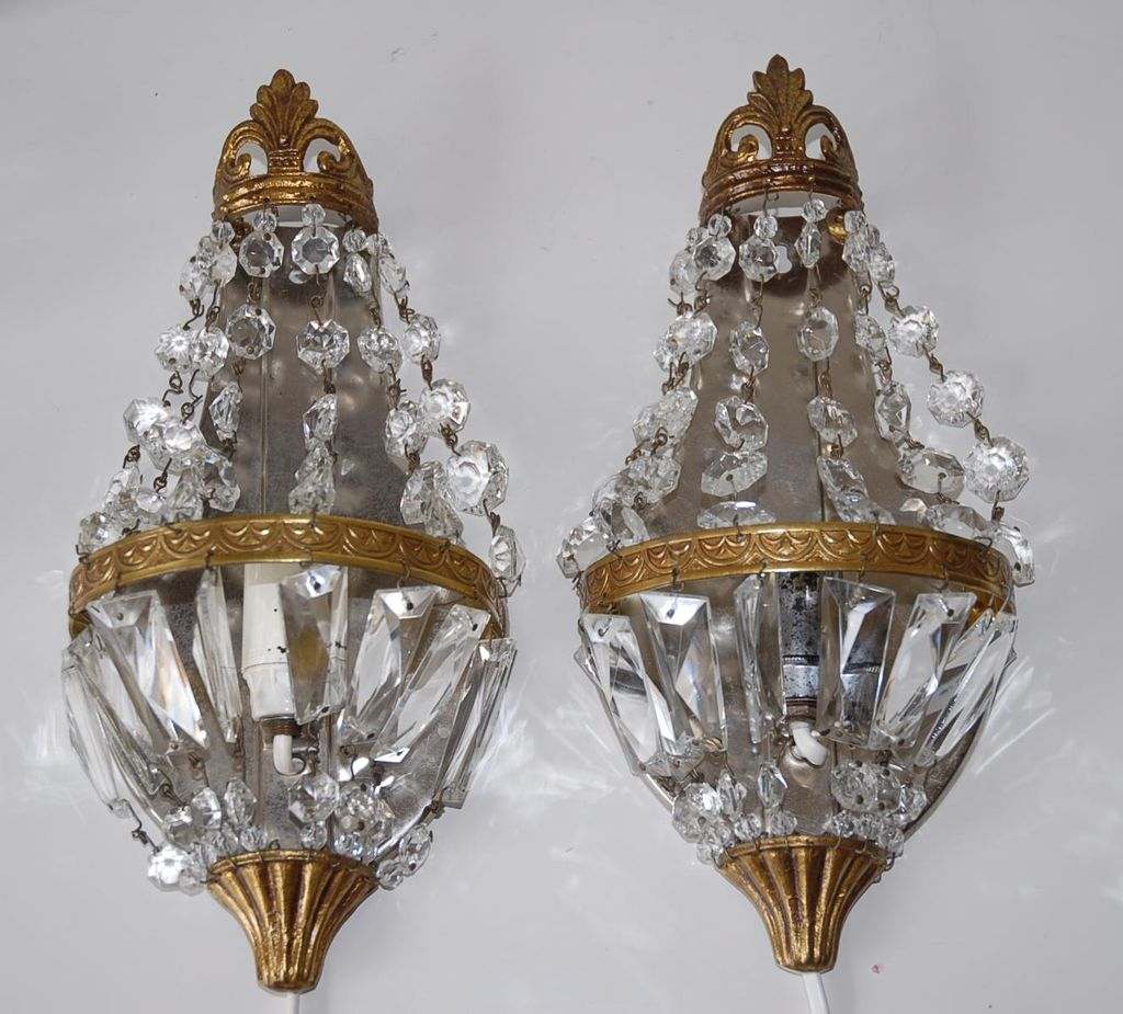 Pair French Vintage Bronze & Crystal 1-light Wall Sconces from europeantiqueshop on Ruby Lane