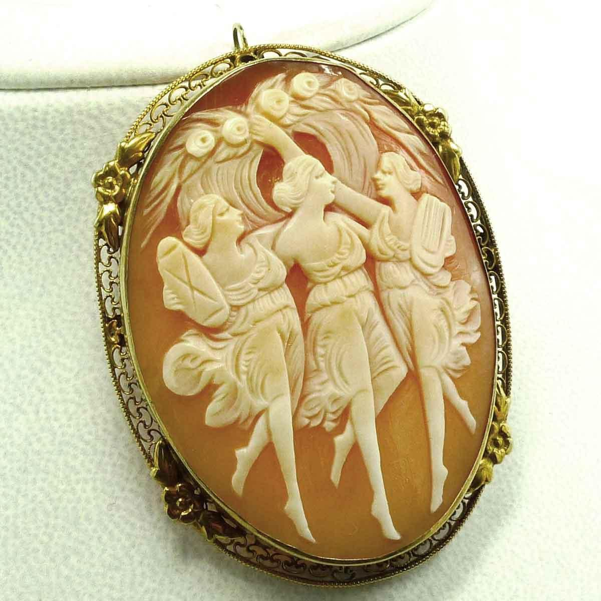 three graces cameo pendant brooch c 1915 from evedovegems