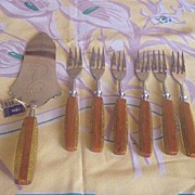 Vintage BAKELITE flatware Desert Set BARON SOLINGEN Two Toned Bakelite MIB Original Tag!