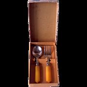 Children's Vintage BAKELITE Flatware Set Fork and Spoon, Mint in Box!