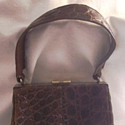 ELEGANT Vintage ALLIGATOR Purse Handbag Chocolate Brown