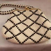 CHIC Vintage Purse with Vintage Plastic Beading Black and Off White