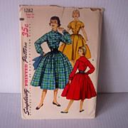 SALE Vintage SIMPLICITY Pattern Uncut #1282 Shirtwaist Dress, Circa 1950's