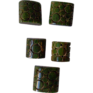 Vintage BAKELITE Buttons Carved Very Deeply Set of 5 Green Bakelite with Swirls of Colors