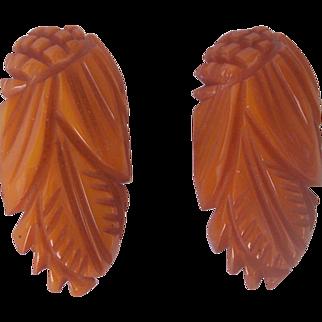 Vintage BAKELITE Dress Clips Pair Carved Very Deeply Pineapple Carvings and Leaf Motif Mint and Unusual!