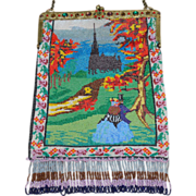 SOLD LAST CHANCE! Figural Beaded Purse Couple Walking to Castle Jeweled Frame