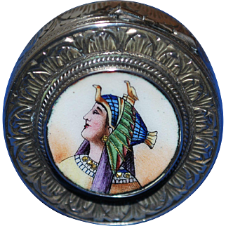 Vintage Enamel Egyptian Motif Pill Patch Box