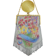 Whiting and Davis Dresden Mesh Purse Floral Basket