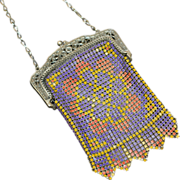 Whiting and Davis Child's Colorful Enamel Metal Mesh Purse