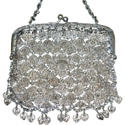 SALE PENDING Vintage Chinese Dragon Filigree Silver Mesh Purse