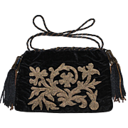 Antique 19th Century Metallic Velvet Purse