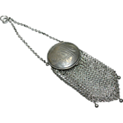 Sterling Chatelaine Ring Mesh Coin Purse
