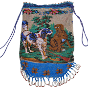Antique 19th Century Beaded Purse Dogs