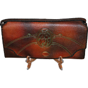 Vintage Arts and Crafts Tooled Leather Clutch Purse Near Mint